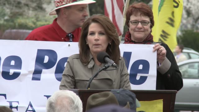 rep michele bachmann fires up crowd at tea party rally michele bachmann / tea party at park by taft carillon us capitol grounds on march 31 2011 in... - tea party stock videos and b-roll footage
