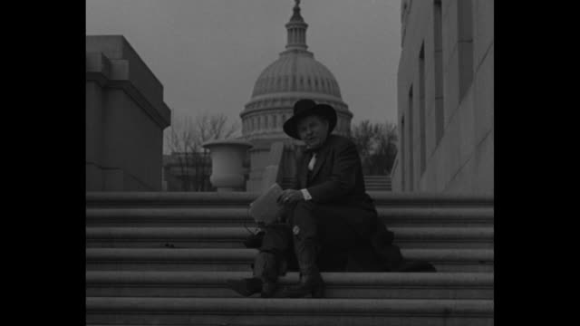 """rep. percy lee gassaway, wearing cowboy hat, walks down steps outside the us capitol with four boys, his page boy """"bodyguards""""; one, in a... - cowboy hat stock videos & royalty-free footage"""