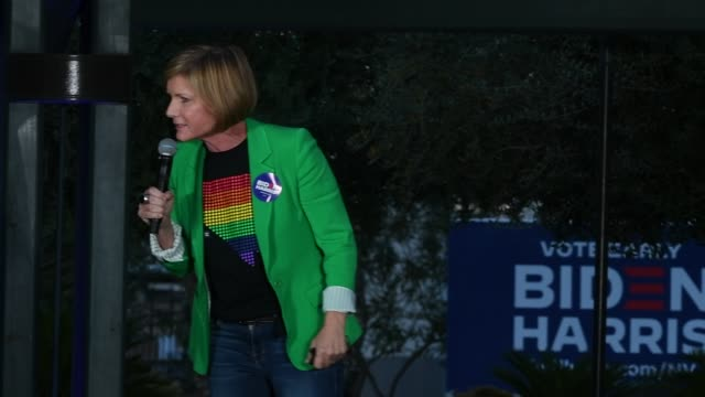 rep. susie lee speaks at an early vote rally featuring singer/actress cher as they campaign for joe biden and kamala harris at a residential shopping... - cher performer stock videos & royalty-free footage