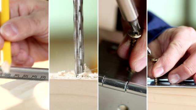 repair. video wall. - wood stain stock videos & royalty-free footage