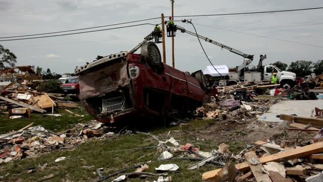 Repair work following EF4 tornado