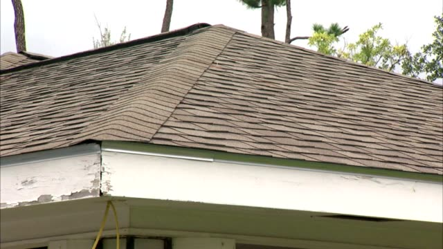 pan repaired roof of home still needing paint around eaves - eaves stock videos and b-roll footage