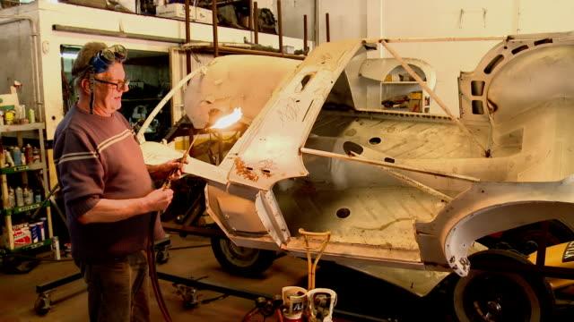repairing British classic Triumph TR3 bodywork