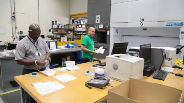 Replacement parts for Dassault Aviations Falcon jets line the shelves in their distribution center located close to the Teterboro Airport in...