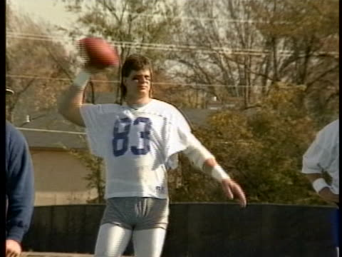 replacement players throwing a football at practice during nfl strike - sportsperson stock videos & royalty-free footage