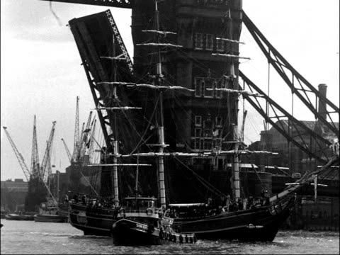 replica of hms bounty arrives for production of film mutiny on the bounty england london tower bridge ext various shots of replica of hms bounty... - sailing ship stock videos & royalty-free footage