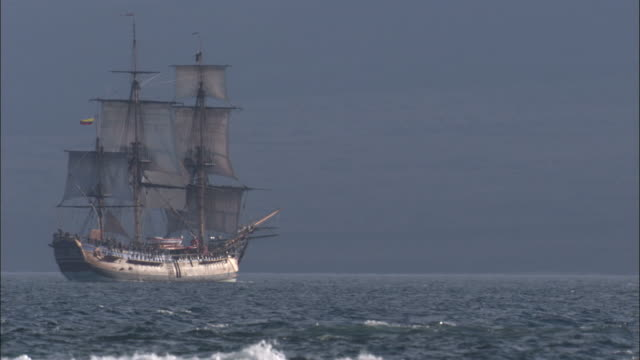 replica of hms endeavour sails past. - history stock videos & royalty-free footage