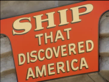/ replica of one of christopher columbus' ships, tourists wandering around various parts of ship / sign 'ship that discovered america' / seagulls... - new york world's fair stock videos & royalty-free footage