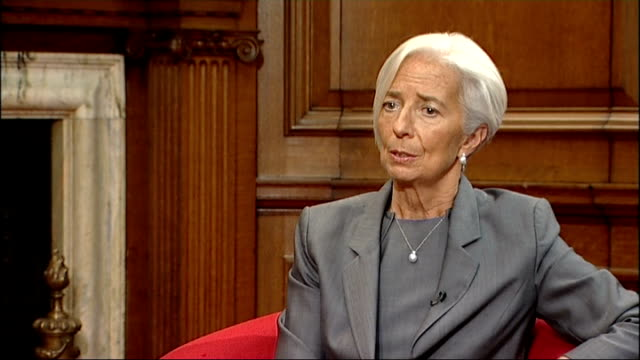 report calls on uk to reign in housing market; england: london: int christine lagarde interview sot - on under-estimating uk economic growth / uk... - reform stock-videos und b-roll-filmmaterial
