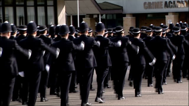 report concludes that police federation crusades against politicians must end hendon metropolitan police recruits marching along at passing out... - military recruit stock videos and b-roll footage