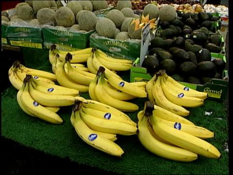 Report dismisses vitamin illness benefits EXT GVs Fruit and vegetables on display on market stall Brigid McKevith interviewed SOT Vitamin supplements...