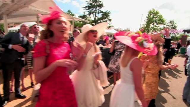 report from ascot on higher wages; england: berkshire: ascot racecourse: ext racegoers watching race at bar, cheering on their horses sot shots of... - イギリス アスコット競馬場点の映像素材/bロール