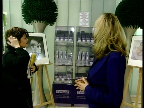 Report into aromatherapy MS Twiggy greeting woman in front of new range of Twiggy aromatherapy products Twiggy interviewed SOT Its not about the...