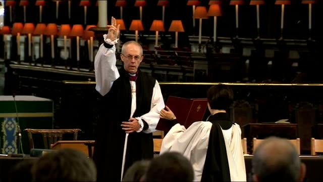 Report on challenges ahead for new Pope Francis and new Archbishop of Canterbury Justin Welby LIB / TX St Paul's Cathedral INT Right Reverend Justin...