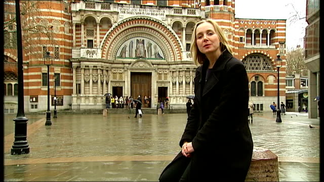 report on challenges ahead for new pope francis and new archbishop of canterbury justin welby; england: london: westminster cathedral: reporter to... - westminster cathedral stock videos & royalty-free footage