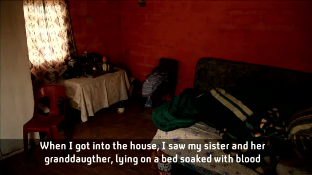 report on village where 24 women and children were raped and murdered over five years; *uk rights only, no international use* sandsani with reporter... - channel 4 news stock-videos und b-roll-filmmaterial