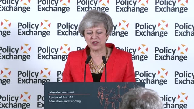 report suggests cutting university tuition fees and reintroducing maintenance allowance; england: london: int theresa may to podium at 'review of... - cut video transition stock videos & royalty-free footage