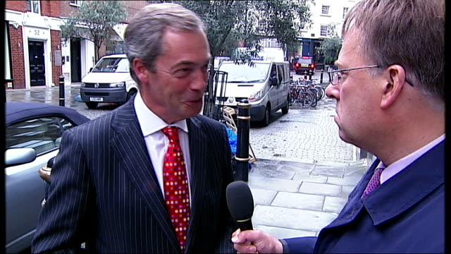 reporter approaches nigel farage in street and asks if he would like to see the letter sot nigel farage mep sot - i've seen it before / well not for... - youth organisation stock videos & royalty-free footage