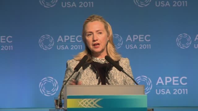 reporter asks us secretary of state hillary clinton about us strategy toward pacific region apec - us secretary of state hillary clinton at apec 2011... - pacific islands stock videos & royalty-free footage