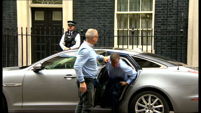 reporter james foley beheaded by islamic state terrorist group; downing street: ext david cameron mp from car and into number 10 - isis beheading stock-videos und b-roll-filmmaterial