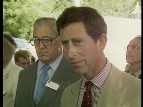 itn reporter joan thirkettle dies ext seq thirkettle and prince of wales chatting sot itn - dermot murnaghan stock-videos und b-roll-filmmaterial