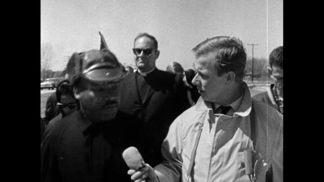 reporter, john tidmarsh interviews martin luther king during the march from selma to montgomery; 22nd march 1965. jt asks whether mlk has doubts... - in front of stock videos & royalty-free footage