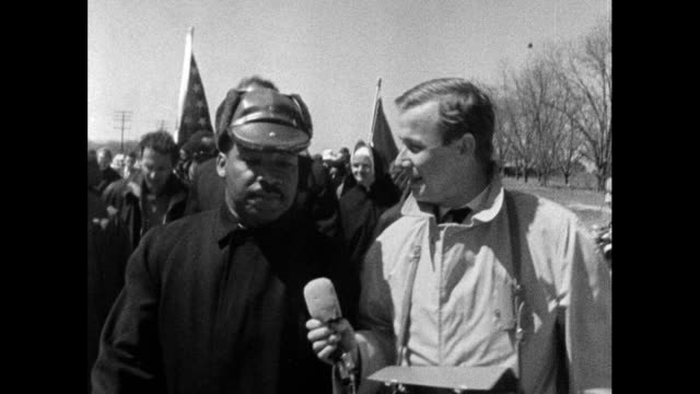 "reporter, john tidmarsh interviews martin luther king during the march from selma to montgomery. he asks how mlk feels in this moment: ""...this is... - in front of stock videos & royalty-free footage"