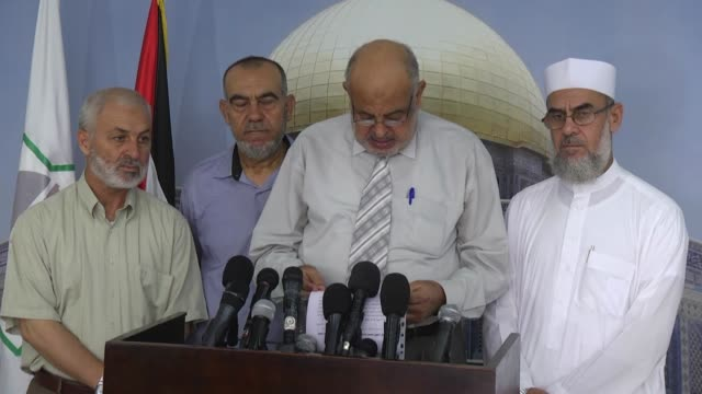 reporter of jerusalem district of palestinian legislative council khamis najjar makes a statement during a press conference in gaza city, gaza on... - plc stock videos & royalty-free footage