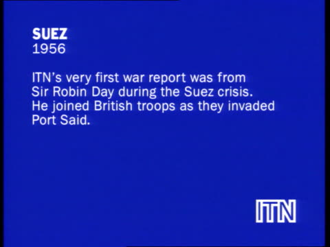 reporters at war collection 1; slate information: itn's very first war report was from sir robin day during the suez crisis. he joined british troops... - robin day stock videos & royalty-free footage