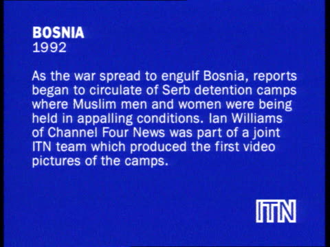 reporters at war collection 3; slate information: bosnia 1992. as the war spread to engulf bosnia, reports began to circulate of serb detention camps... - bosnia and hercegovina stock videos & royalty-free footage