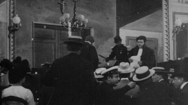 1899 b/w reporters fighting in courtroom and then stampeding for the exit during the dreyfus affair trial - 1899 stock videos & royalty-free footage