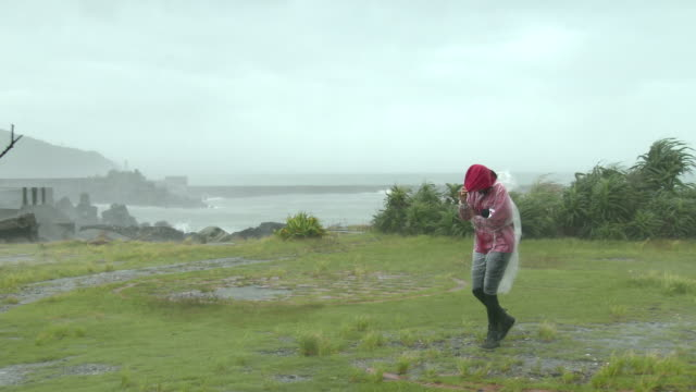 TV reporters struggles in strong wind and rain as typhoon Malakas brushes Taiwan
