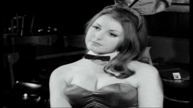 british bunny girls being trained in playboy club / hugh hefner interview **interview overlaid sot** bunny girl serving drinks to customers interview... - westwood neighborhood los angeles stock videos & royalty-free footage