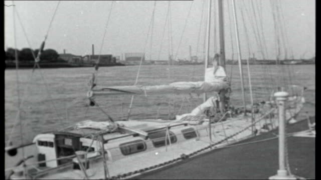 chichester arrives in australia sailing halfway round the world australia new south wales sydney ext francis chichester's gipsy moth iv ketch moored... - francis chichester stock videos & royalty-free footage