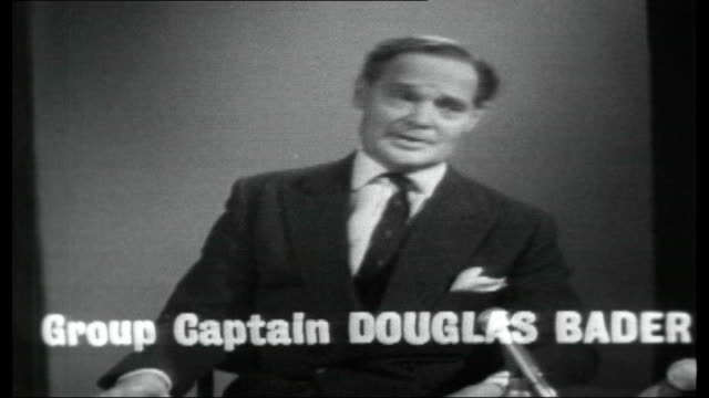 Group Captain Douglas Bader interview ENGLAND London INT Group Captain Douglas Bader interview SOT On dog fights between supersonic jet fighters /...