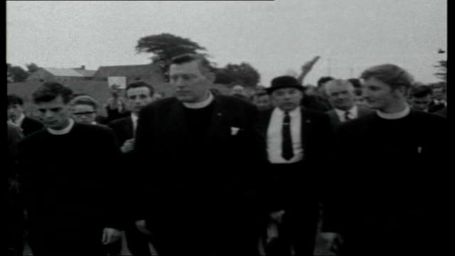 ian paisley and northern ireland troubles; northern ireland: ext tracking shot of countryside with speech by reverend ian paisley overlaid sot... - pope stock videos & royalty-free footage