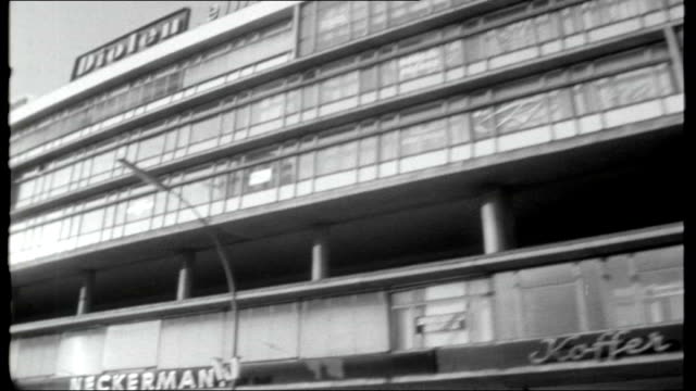 Nazi prisoners in Spandau WEST GERMANY Berlin EXT Shots of Berlin streets from front of moving car Shots of Kurfurstendamm area including bottom of...