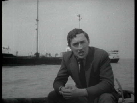 Pirate radio stations AT SEA Reporter to camera Map showing Great Britain and location of pirate radio stations in the North Sea Clyde Estuary /...