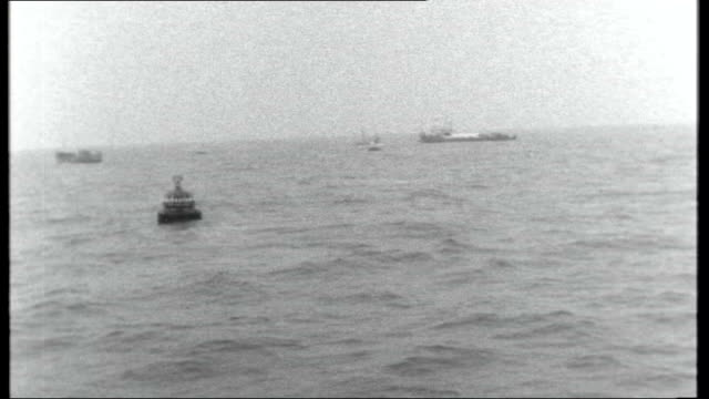sea gem disaster; north sea: ext various shots of buoy marking spot where sea gem sank and 13 men died - buoy stock videos & royalty-free footage