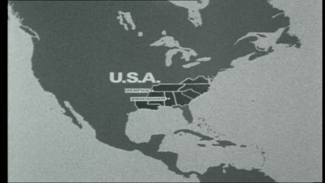the beatles across america map of tennessee and alabama - 1966 stock-videos und b-roll-filmmaterial