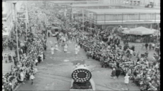 West Germany preLent carnival festivities WEST GERMANY Mainz EXT **Some picture disruption throughout report** Carnival figure past in parade...