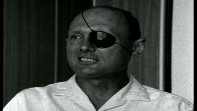middle east crisis israel israel various of general moshe dayan with menachim begin general moshe dayan interview sot no this is not the fact / i... - israele video stock e b–roll