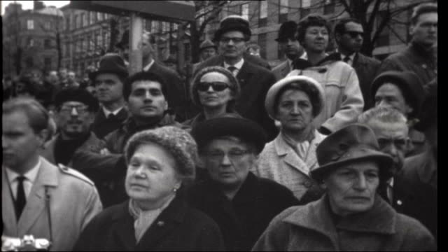 Russell Tribunal on US war crimes in Vietnam SWEDEN Stockholm EXT People taking part in May Day demonstrations People watching marchers pass People...