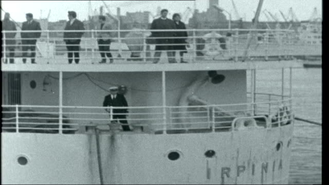 Immigration control ITALY Genoa EXT Liner 'Ipirnia' in harbour / Various of immigrants from West Indies bound for Britain on decks of ship ENGLAND...