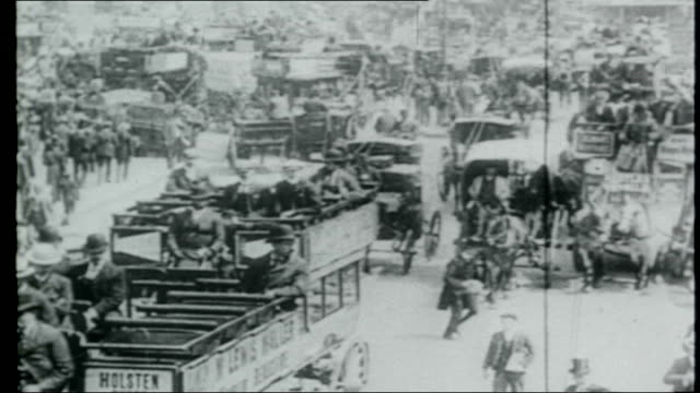 london taxi fares 1910s street crowded with hansom cabs - 1910 stock videos and b-roll footage