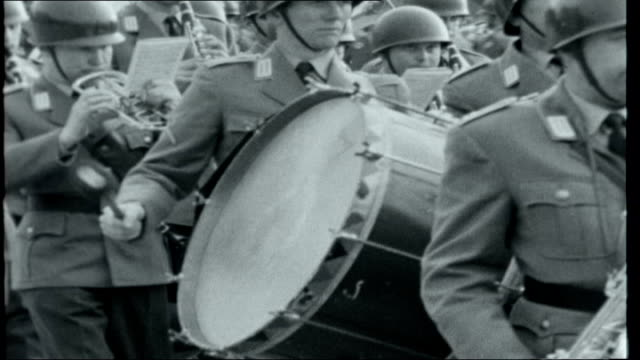 new west german army bavaria wurzburg ext military band of 12th division of the new german army marching on parade ground - wurzburg stock videos and b-roll footage