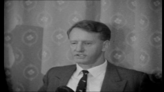 Rhodesia Smith and Todd in conflict over UDI Press members in audience Ian Smith press conference SOT On whether a UDI in Rhodesia would mean the...