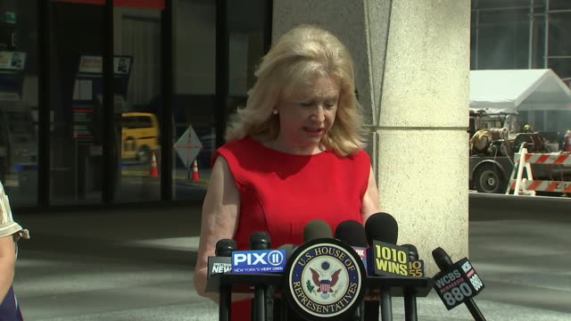 representative carolyn maloney remarks during a press statement on funding for the us postal service in new york city. - business or economy or employment and labor or financial market or finance or agriculture stock videos & royalty-free footage