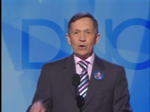 vídeos de stock, filmes e b-roll de representative dennis kucinich gives a speech at the 2008 democratic national convention. - número 8