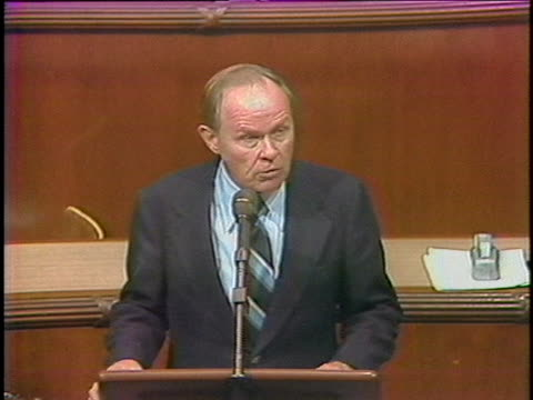 representative elwood hillis speaks about the iranian hostage situation, showing congress' split reaction to the embassy takeover in 1979. - 1979 stock videos & royalty-free footage